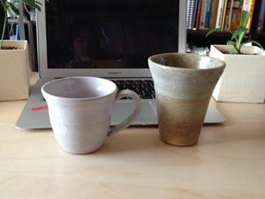 シーガイア作陶工房で作った僕の作品! コーヒーカップとビアカップ