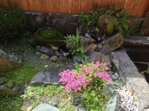 室内露天風呂の庭