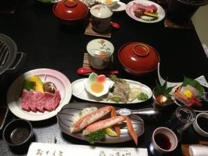 島根和牛ステーキの夕食